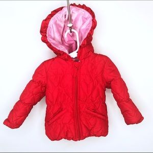 Weatherproof Girls Coat Quilted Hooded Velour
